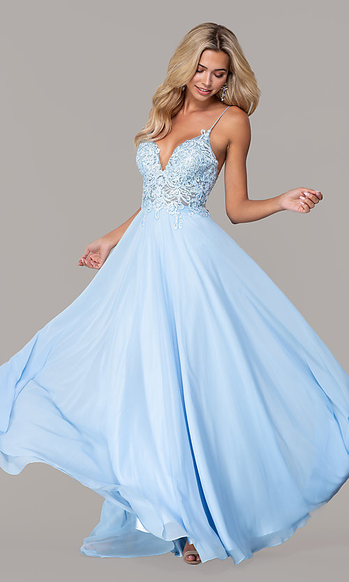 Image of Dave and Johnny long prom dress with beaded bodice. Style: DJ-A7248 Front Image