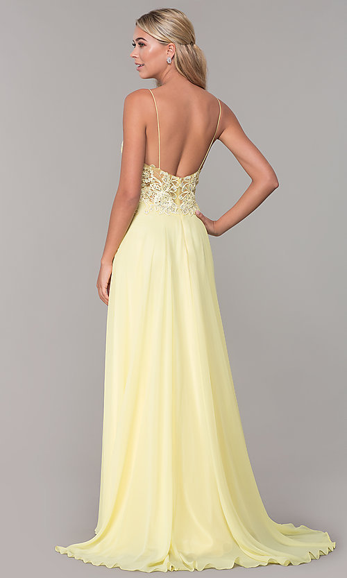 Image of Dave and Johnny long prom dress with beaded bodice. Style: DJ-A7248 Detail Image 6