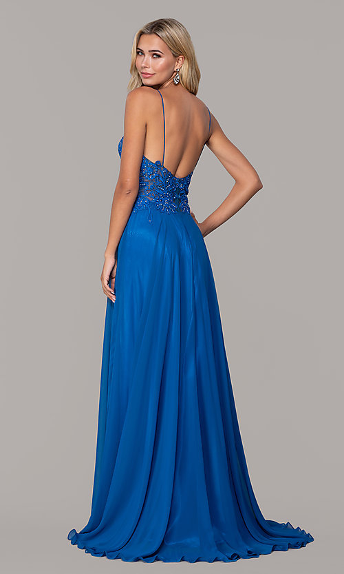 Image of Dave and Johnny long prom dress with beaded bodice. Style: DJ-A7248 Detail Image 2
