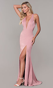 Image of long formal prom dress with plunging neckline.  Style: DJ-A7852 Detail Image 3