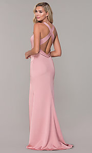 Image of long formal prom dress with plunging neckline.  Style: DJ-A7852 Detail Image 4