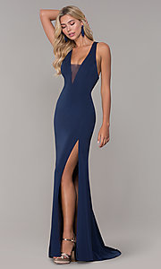 Image of long formal prom dress with plunging neckline.  Style: DJ-A7852 Front Image