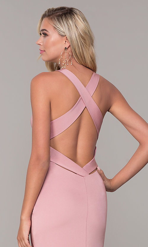 Image of long formal prom dress with plunging neckline.  Style: DJ-A7852 Detail Image 6