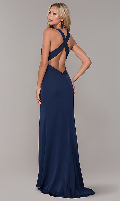 Image of long formal prom dress with plunging neckline.  Style: DJ-A7852 Back Image