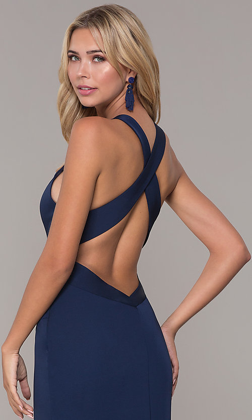 Image of long formal prom dress with plunging neckline.  Style: DJ-A7852 Detail Image 2