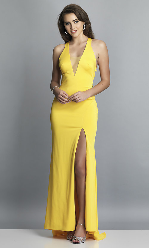 Image of long formal prom dress with plunging neckline.  Style: DJ-A7852 Detail Image 7
