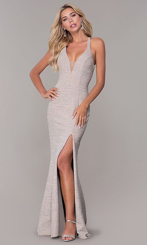 Image of silver glitter formal dress by Dave and Johnny. Style: DJ-A6918 Front Image