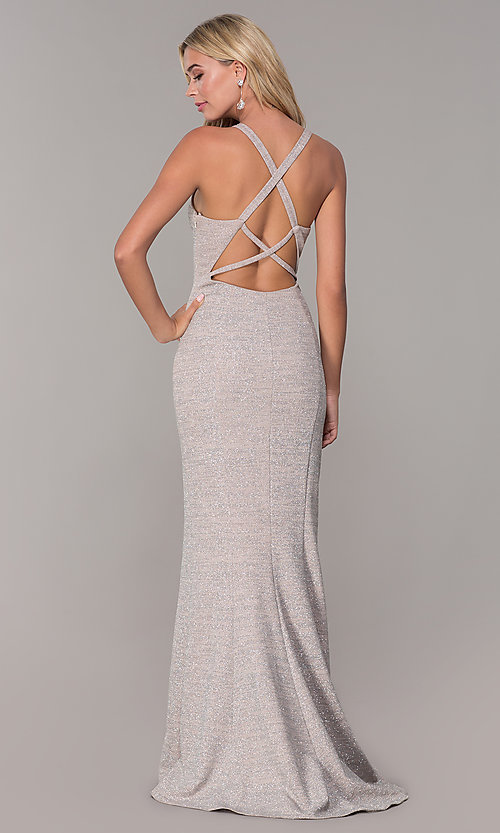 Image of silver glitter formal dress by Dave and Johnny. Style: DJ-A6918 Back Image