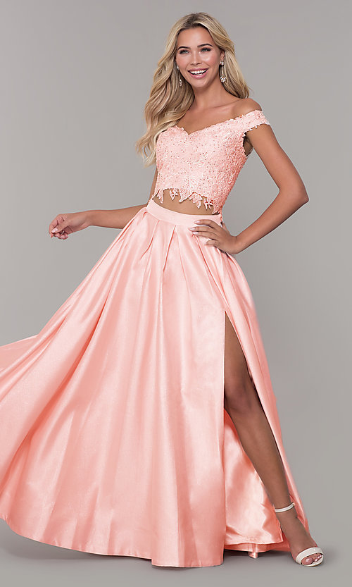 Image of off-the-shoulder two-piece prom dress with pockets. Style: DJ-A7796 Front Image