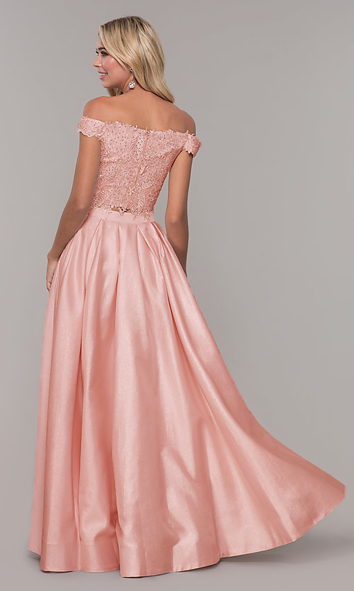 Image of off-the-shoulder two-piece prom dress with pockets. Style: DJ-A7796 Back Image