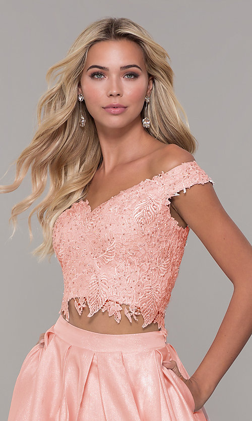 Image of off-the-shoulder two-piece prom dress with pockets. Style: DJ-A7796 Detail Image 1