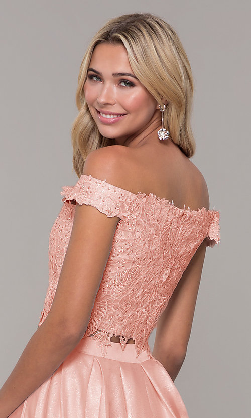 Image of off-the-shoulder two-piece prom dress with pockets. Style: DJ-A7796 Detail Image 2