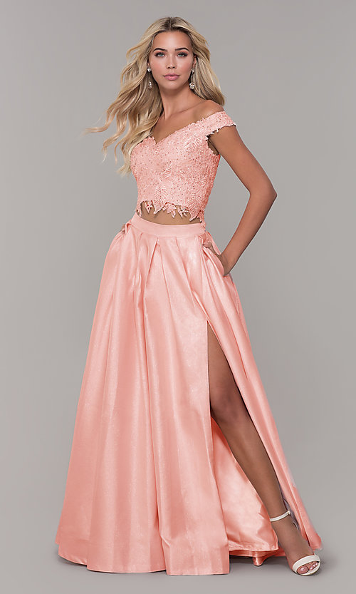 Image of off-the-shoulder two-piece prom dress with pockets. Style: DJ-A7796 Detail Image 3