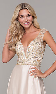 Image of long v-neck nude prom dress with beaded bodice. Style: DJ-A7376 Detail Image 1
