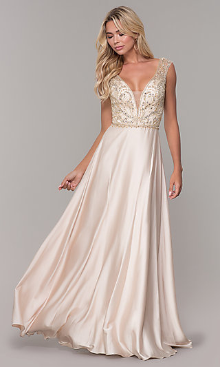 Long V-Neck Nude Prom Dress with Beaded Bodice