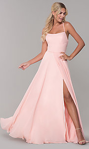 Image of cut-out long chiffon formal dress in blush pink. Style: DJ-A7987 Front Image