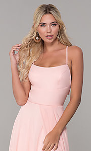 Image of cut-out long chiffon formal dress in blush pink. Style: DJ-A7987 Detail Image 1