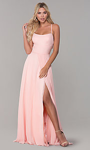 Image of cut-out long chiffon formal dress in blush pink. Style: DJ-A7987 Detail Image 3