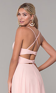 Image of cut-out long chiffon formal dress in blush pink. Style: DJ-A7987 Detail Image 2