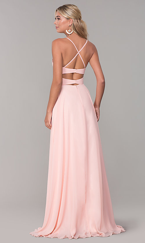 Image of cut-out long chiffon formal dress in blush pink. Style: DJ-A7987 Back Image