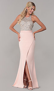 Image of Dave and Johnny long beaded-bodice prom dress. Style: DJ-A7866 Front Image