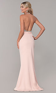 Image of Dave and Johnny long beaded-bodice prom dress. Style: DJ-A7866 Back Image