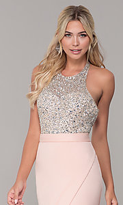 Image of Dave and Johnny long beaded-bodice prom dress. Style: DJ-A7866 Detail Image 1
