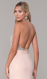 Image of Dave and Johnny long beaded-bodice prom dress. Style: DJ-A7866 Detail Image 2