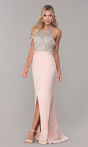Image of Dave and Johnny long beaded-bodice prom dress. Style: DJ-A7866 Detail Image 3