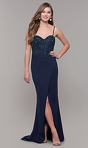 Image of Dave and Johnny long formal dress with beading. Style: DJ-A7867 Front Image