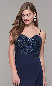 Image of Dave and Johnny long formal dress with beading. Style: DJ-A7867 Detail Image 1