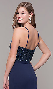 Image of Dave and Johnny long formal dress with beading. Style: DJ-A7867 Detail Image 2