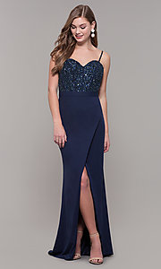 Image of Dave and Johnny long formal dress with beading. Style: DJ-A7867 Detail Image 3