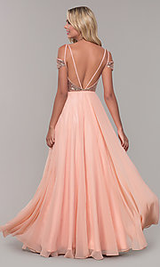 Image of Dave and Johnny cold-shoulder long prom dress. Style: DJ-A7197 Back Image