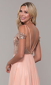 Image of Dave and Johnny cold-shoulder long prom dress. Style: DJ-A7197 Detail Image 2