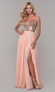 Image of Dave and Johnny cold-shoulder long prom dress. Style: DJ-A7197 Detail Image 3