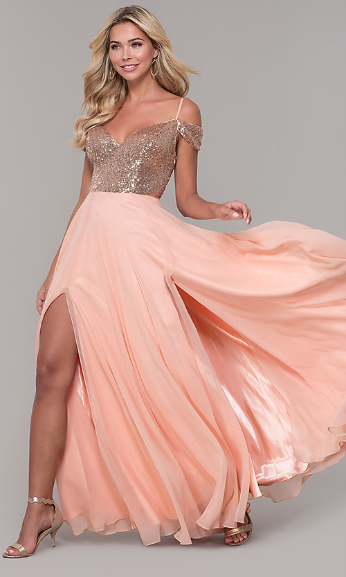 Image of Dave and Johnny cold-shoulder long prom dress. Style: DJ-A7197 Front Image