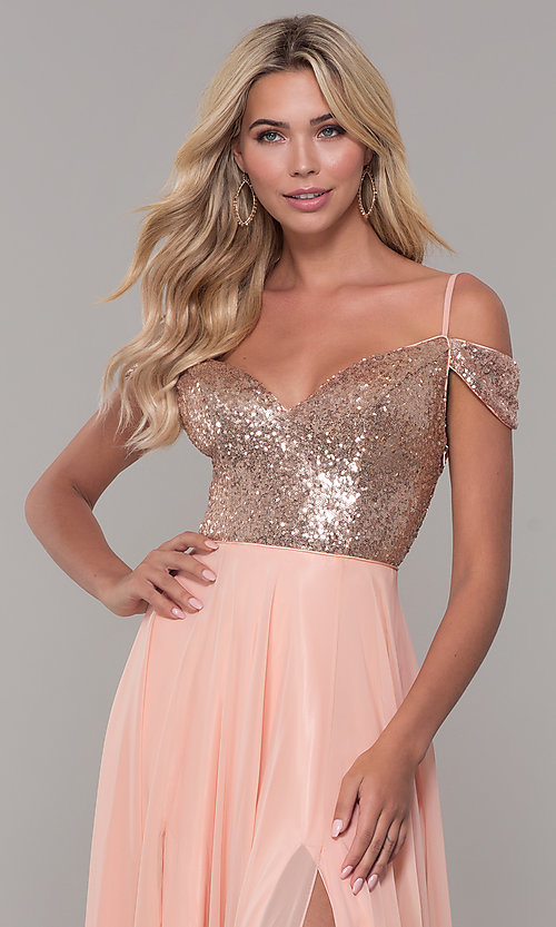 Image of Dave and Johnny cold-shoulder long prom dress. Style: DJ-A7197 Detail Image 1