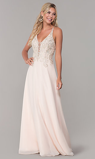 Long Nude Sleeveless Prom Dress by Dave and Johnny