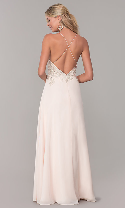 Image of long nude open-back prom dress by Dave and Johnny. Style: DJ-A7590 Back Image