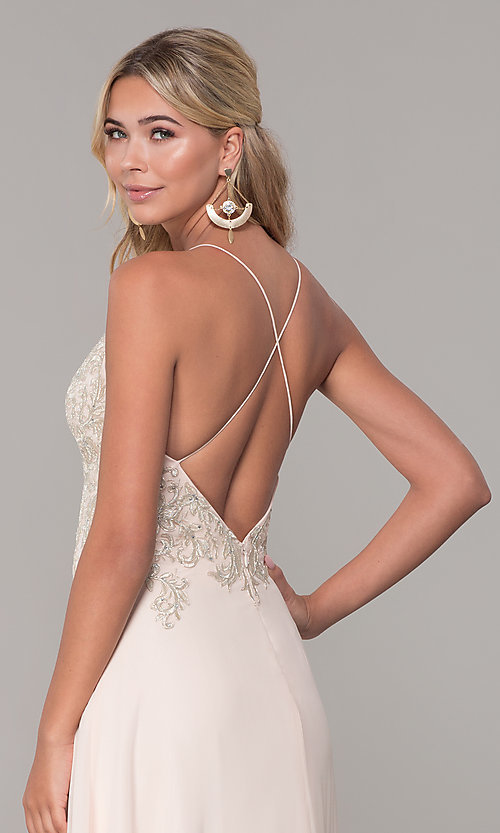 Image of long nude open-back prom dress by Dave and Johnny. Style: DJ-A7590 Detail Image 2