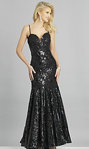 Image of long Dave and Johnny strapless sequin prom dress. Style: DJ-A6768 Front Image