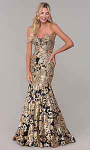 Image of long Dave and Johnny strapless sequin prom dress. Style: DJ-A6768 Detail Image 4