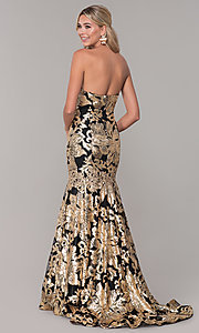 Image of long Dave and Johnny strapless sequin prom dress. Style: DJ-A6768 Detail Image 5