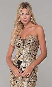 Image of long Dave and Johnny strapless sequin prom dress. Style: DJ-A6768 Detail Image 1