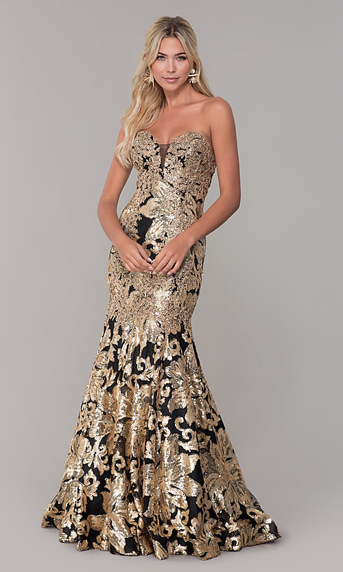 Image of long Dave and Johnny strapless sequin prom dress. Style: DJ-A6768 Detail Image 3