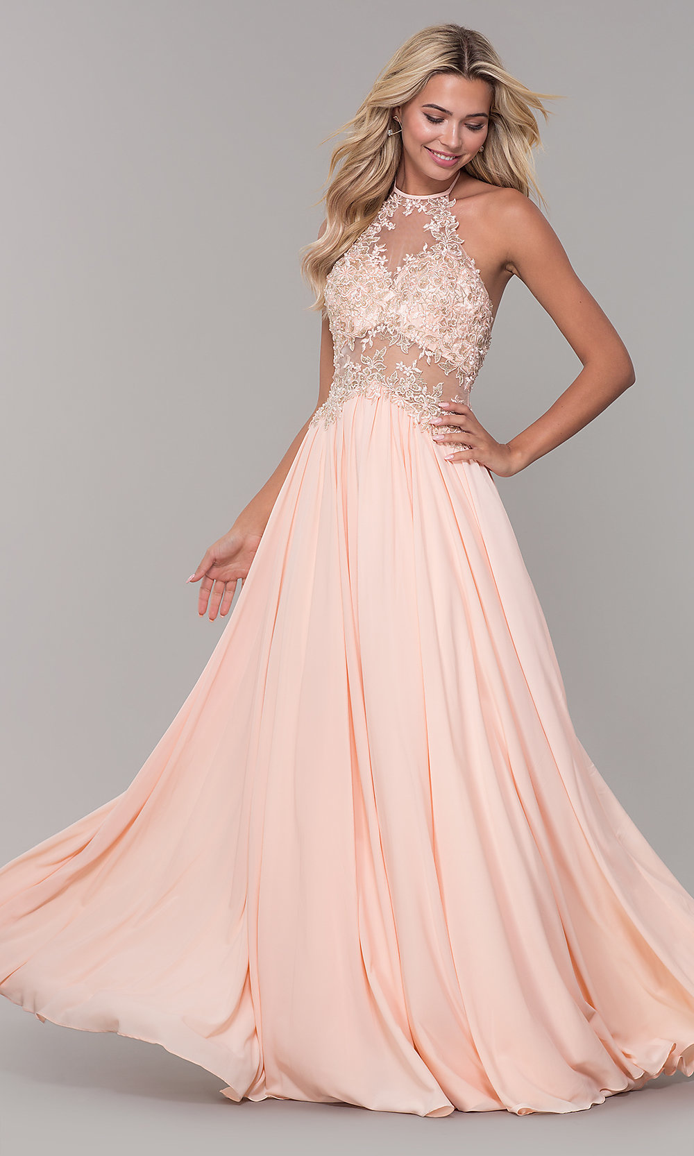 8c025ab62fad Long Peach High-Neck Prom Dress by Dave and Johnny