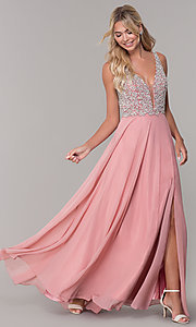 Image of long beaded-bodice Dave and Johnny prom dress. Style: DJ-A7159 Front Image