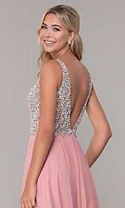Image of long beaded-bodice Dave and Johnny prom dress. Style: DJ-A7159 Detail Image 2