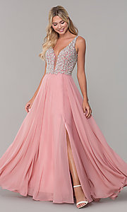 Image of long beaded-bodice Dave and Johnny prom dress. Style: DJ-A7159 Detail Image 3